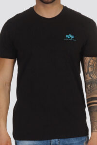 BASIC T-SMALL LOGO – ALPHA 93 BLACK-BLUE
