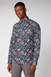 Camisa_ Multi Colores_Paisley Print Shirt_Ben Sherman_0059119_Dark Navy_a