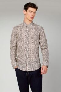 Camisa_MICRO INTRICATE PAISLEY-Ben sherman_0061437_Beige_