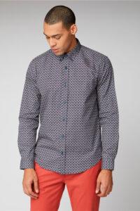 Camisa_Wallpaper Print Shirt_Ben Sherman_0059121_Navy_a
